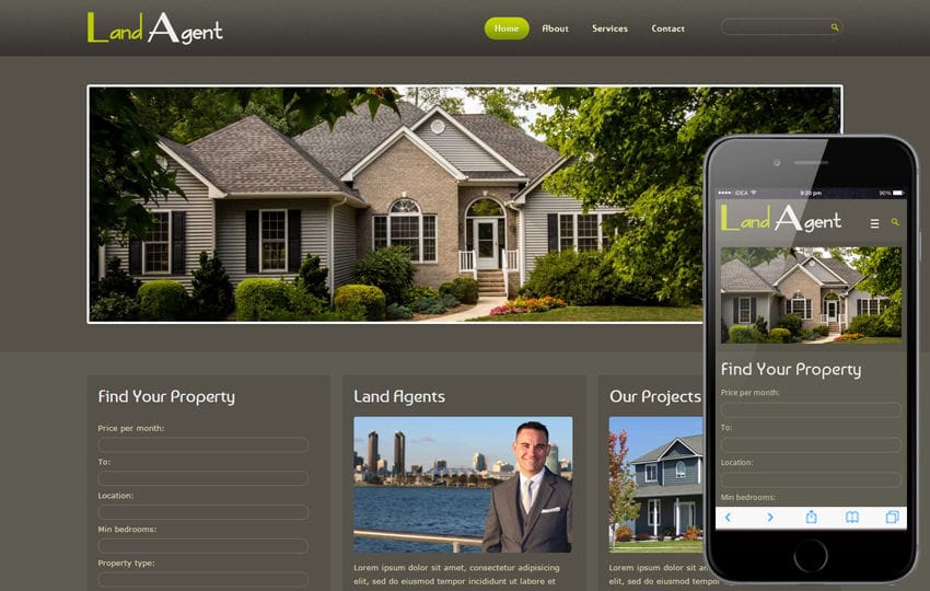Land Agent Real Estate Mobile Website Template
