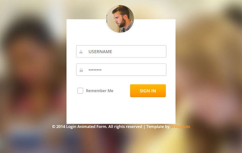 Login Form Flat Animated Template