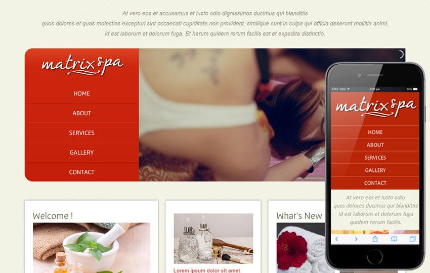 Matrix Spa Web And Mobile Website Template For Free