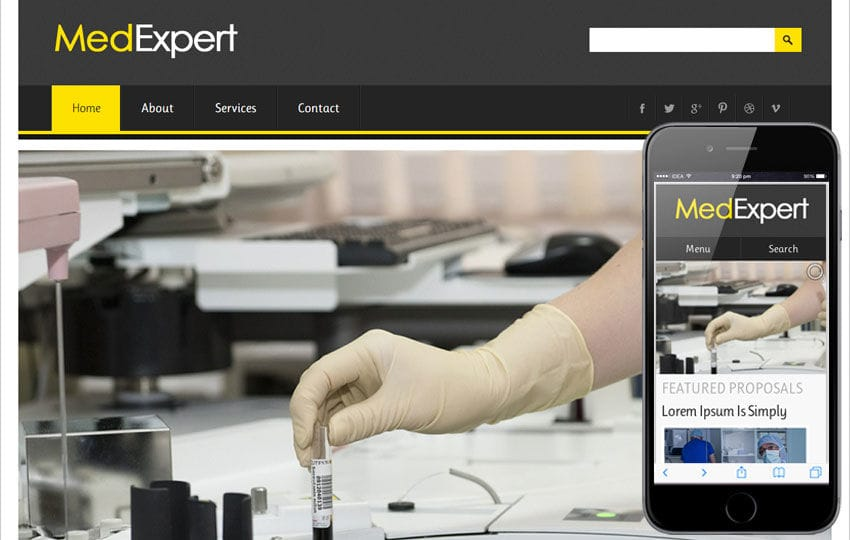 MedExpert Hospital Mobile Website Template