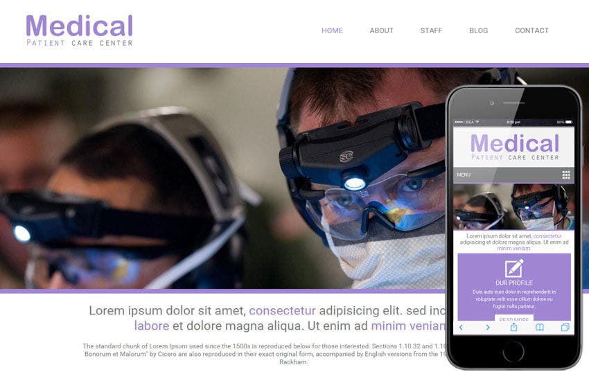 Medical Hospital Mobile Website Template