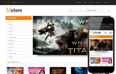 Movies Store online shopping Entertainment Mobile Website Template