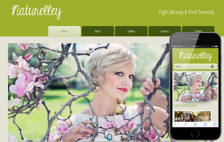 Naturelley Beauty Parlour Mobile Website Template