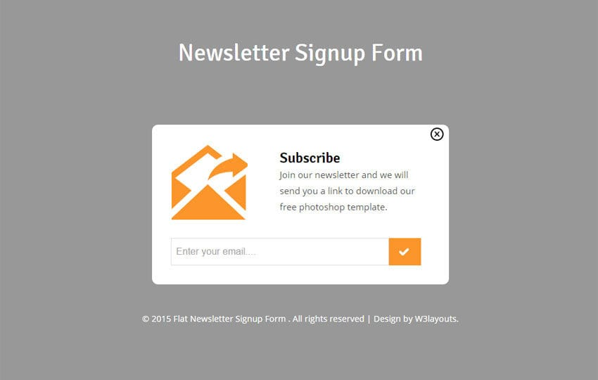 Newsletter Signup Form Responsive Widget Template