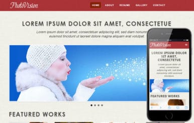 Photo Vision web and mobile website template for free