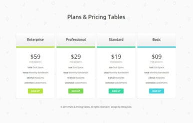 Clean Plans and Pricing Tables Responsive Widget Template