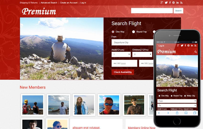 Premium a travel guide Mobile Website Template
