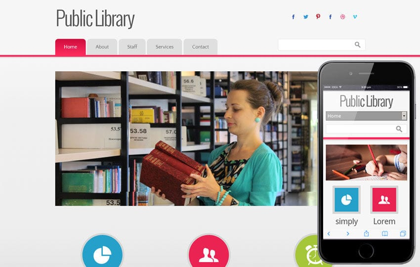 Public Library Education Mobile Website Template