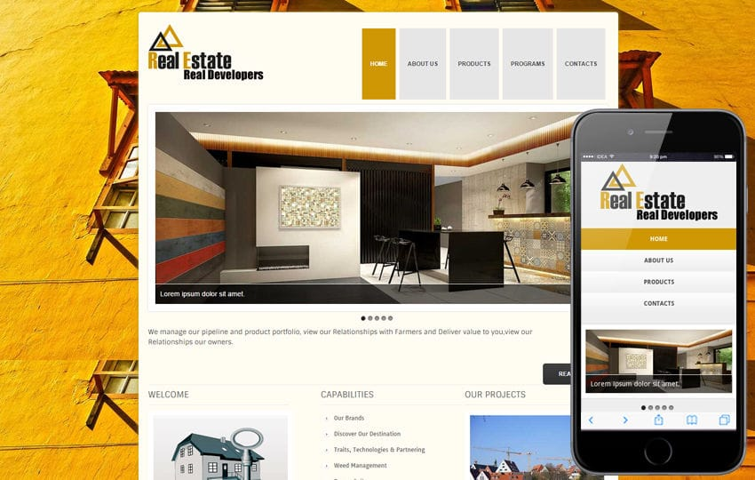 New Real Estate Web template and Mobile website template for free