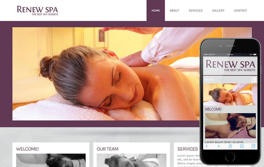 Renew Spa Beauty Parlour- Mobile Website Template