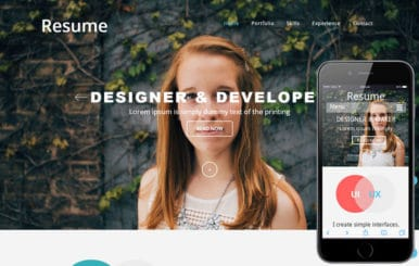 Resumer a SinglePage Flat Responsive web template