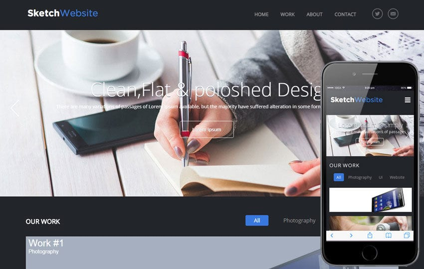 Sketch Website Corporate Flat Responsive web Template
