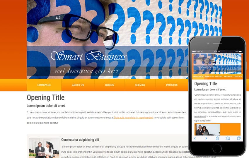Free Smart Business Webtemplate and Mobile Webtemplate for companies
