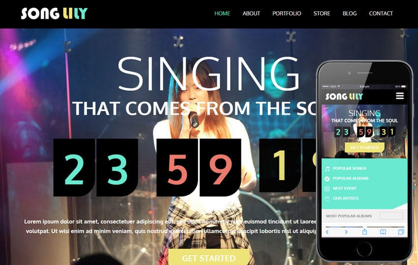 Song Lily a Entertainment Category Flat Bootstrap Responsive Web Template