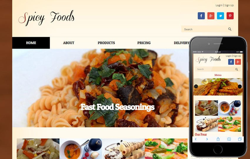Spicy Food a food corners Mobile Website Template