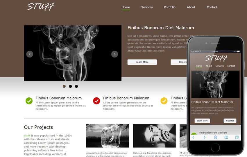 Stuff fancy look corporate web template and Mobile template for free