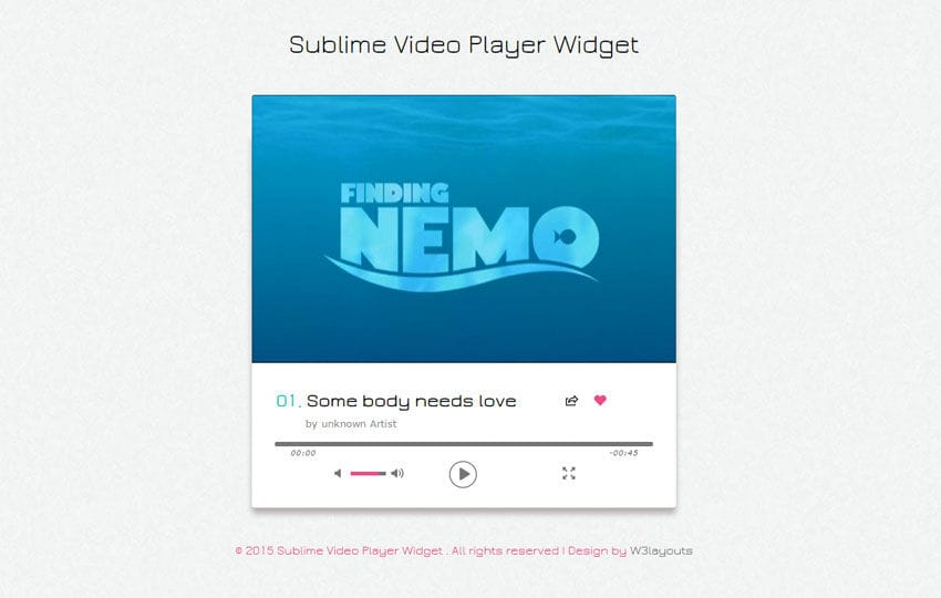Sublime Video Player Responsive Widget Template