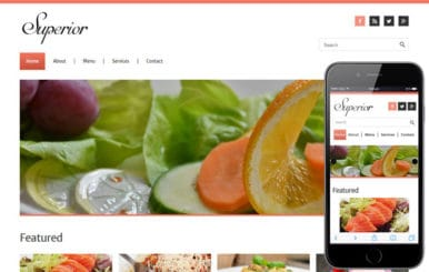 Superior a Restaurant Mobile Website Template
