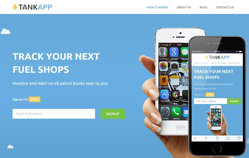 Tank App a Mobile App based Flat Responsive web template