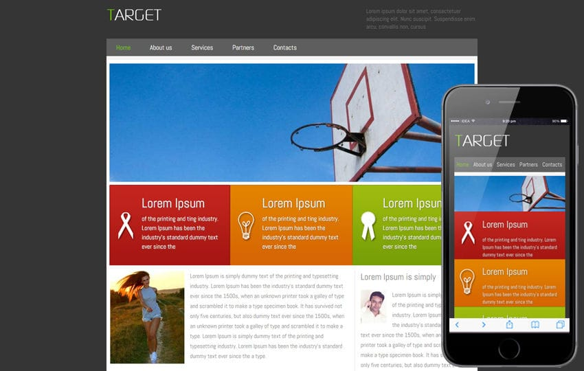 Free Target corporate web template and Mobile template