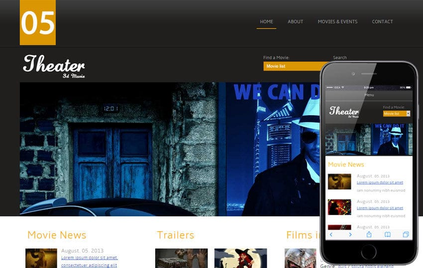 Theater Entertainment Mobile Website Template