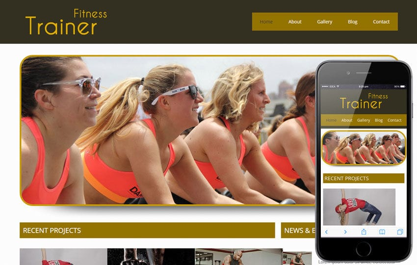 Trainer Health and Fitness Mobile Website Template