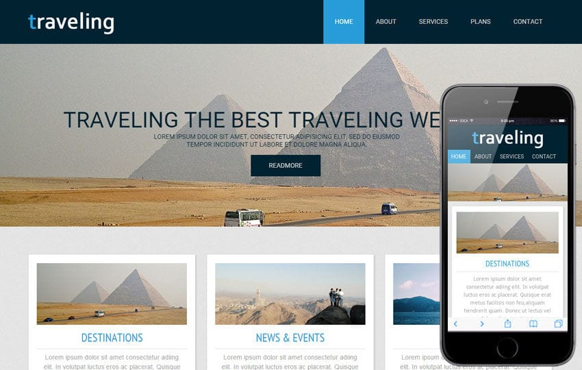 Traveling a travel guide Mobile Website Template