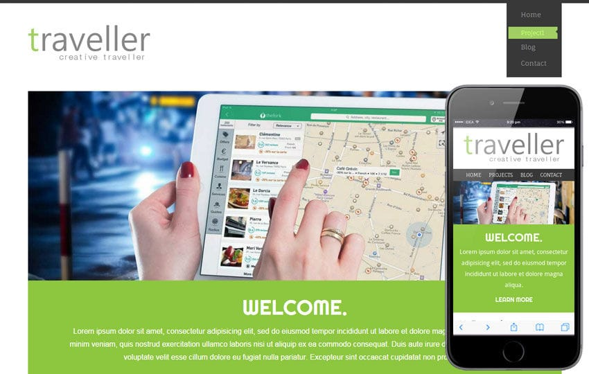 Traveller a travel guide Mobile Website Template