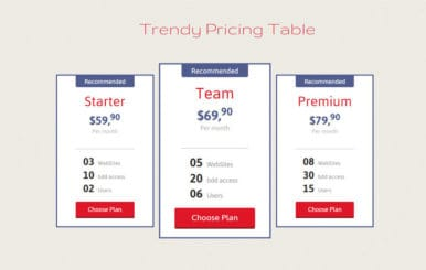 Trendy Pricing Table Responsive Widget Template
