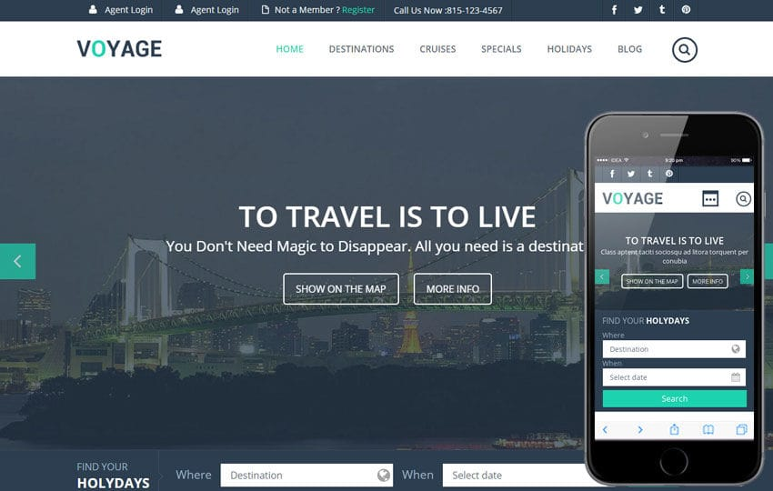Voyage a Flat Travel Responsive Web Template
