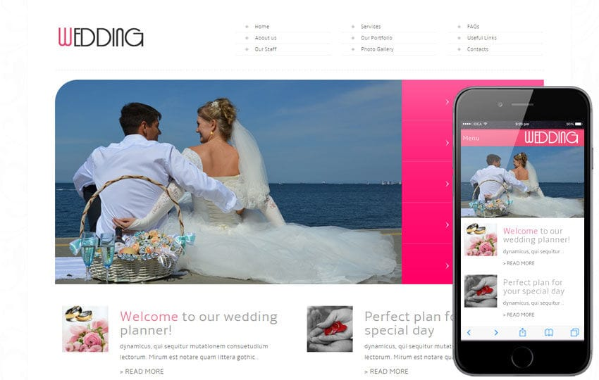 Wedding Mobile Website Template