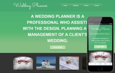 Wedding planner Mobile Website Template