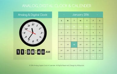 Analog Clock Digital and Calendar Responsive Widget Template