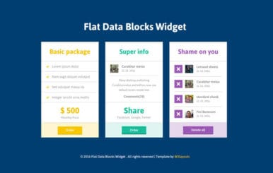 Flat Data Blocks Responsive Widget Template