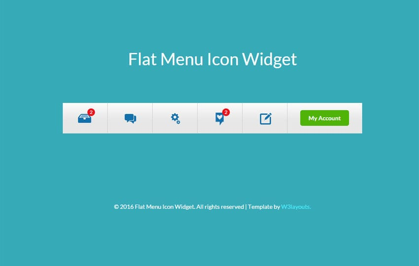 Flat Menu Icon Responsive Widget Template