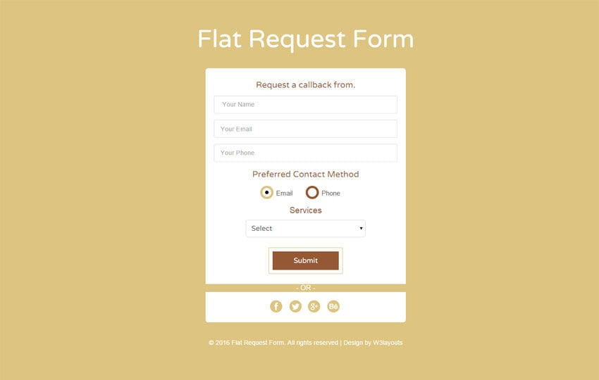 Flat Request Form Responsive Widget Template
