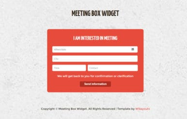 Meeting Box Form Responsive Widget Template