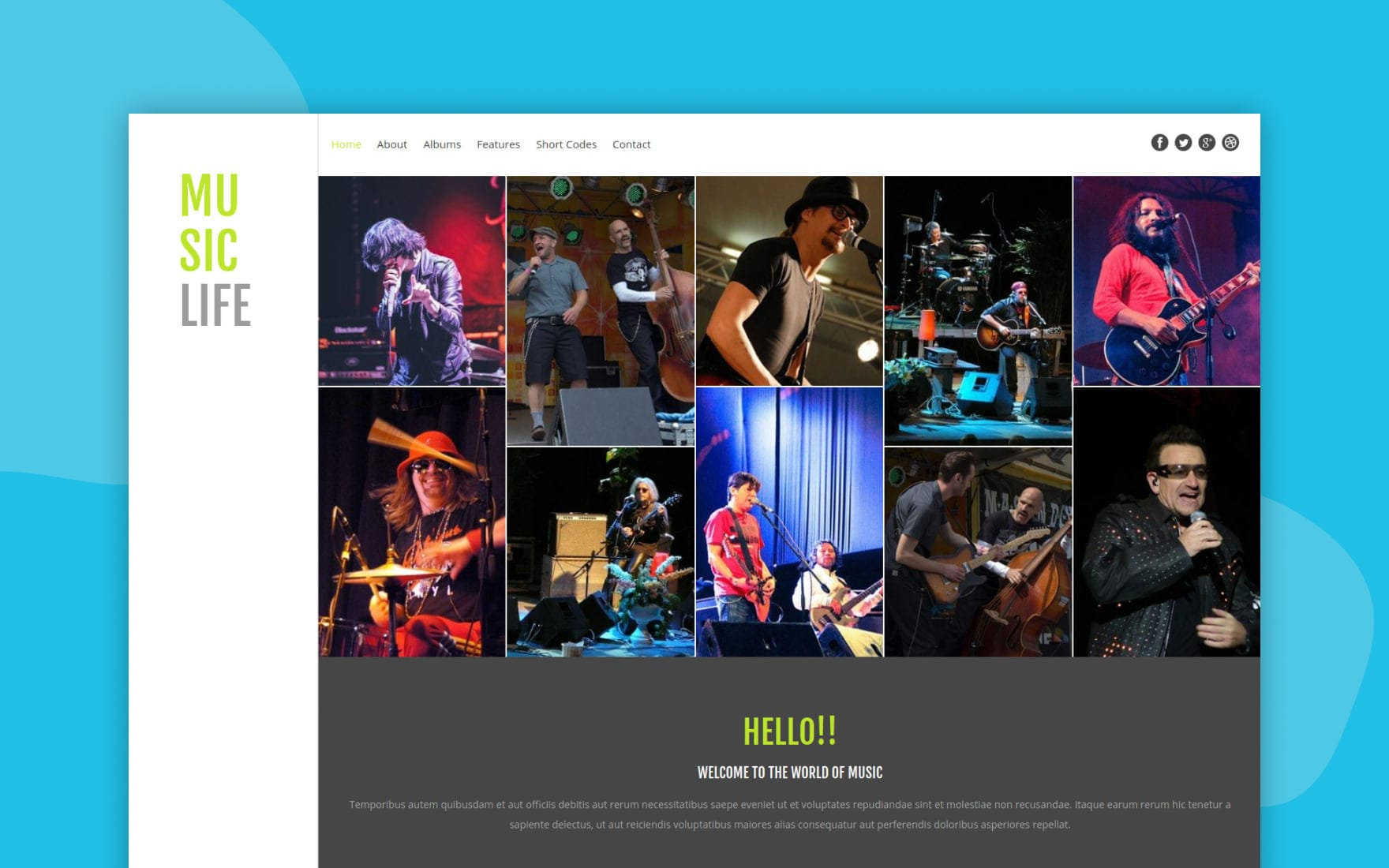Music Life a Entertainment Category Flat Bootstrap Responsive web template