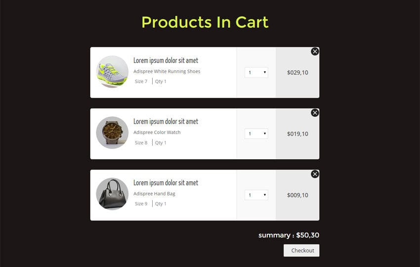 Products In Cart Responsive Widget Template