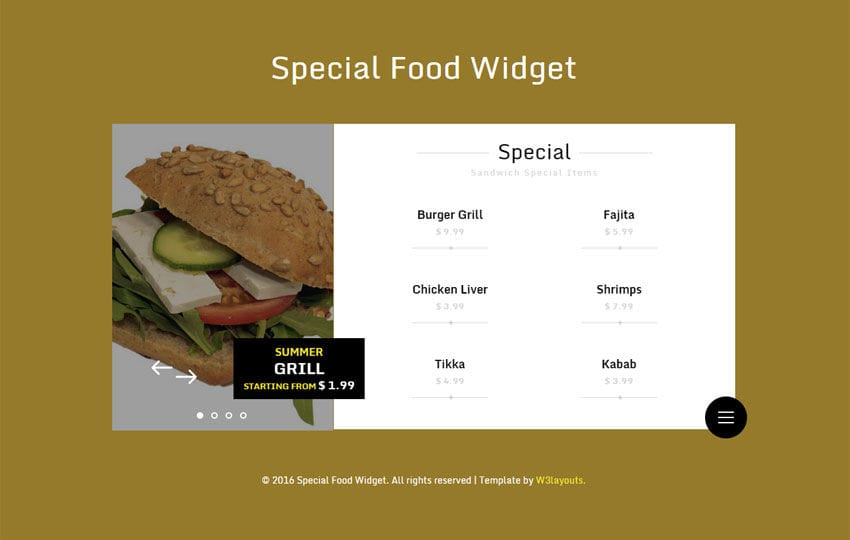 Special Food Responsive Widget Template