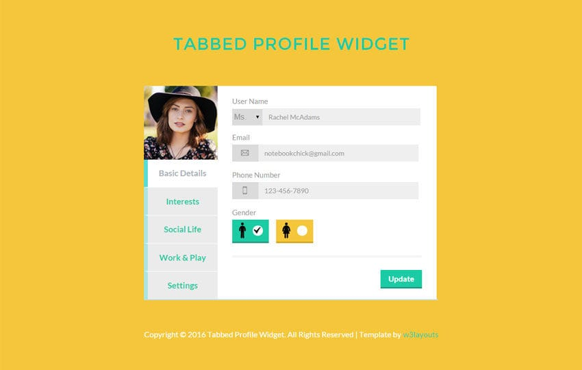 Tabbed Profile Widget Responsive Template