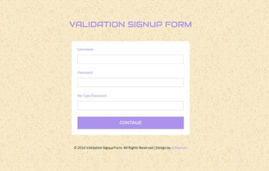Validation Signup Form Responsive Widget Template