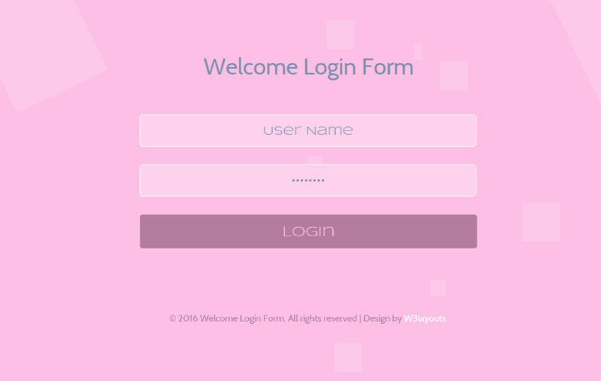 Welcome Login Form Responsive Widget Template