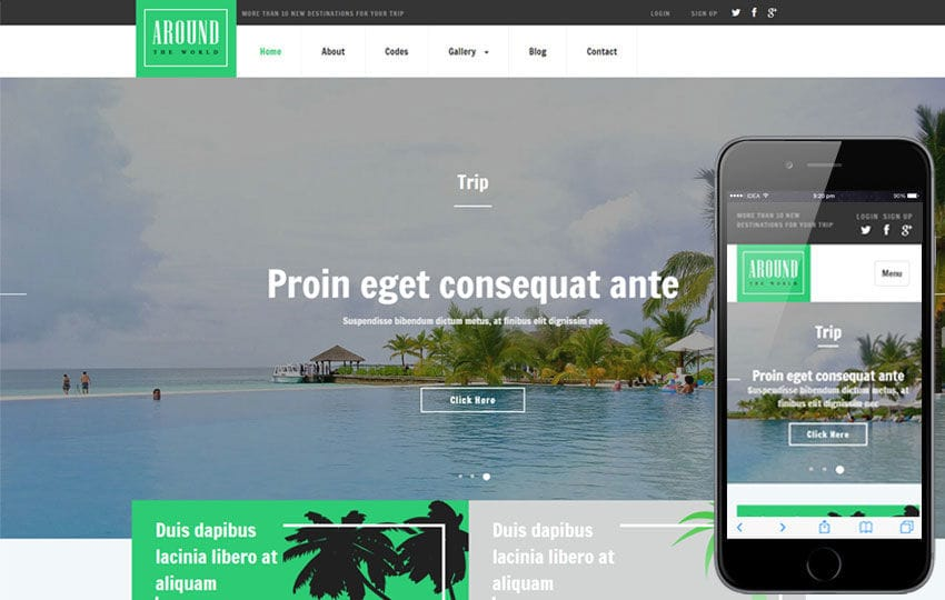 Around a Travel Category Responsive Web Template