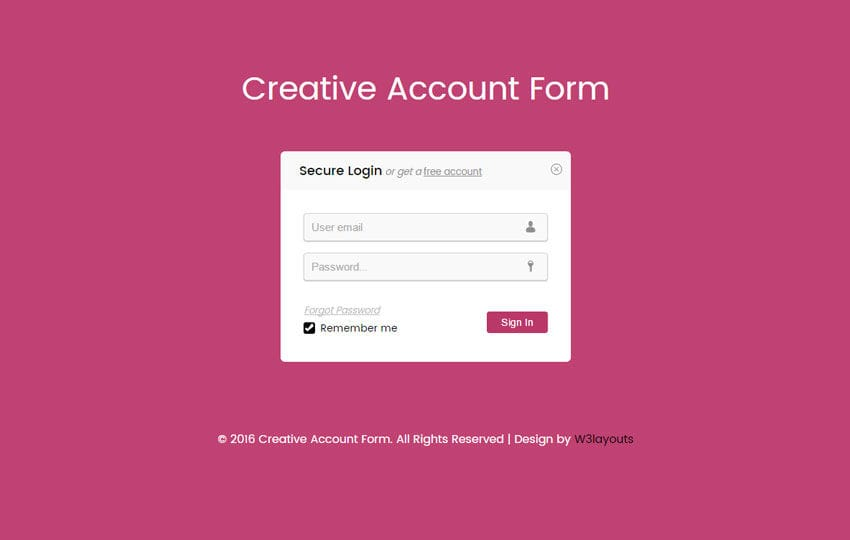 Creative Account Form Responsive Widget Template