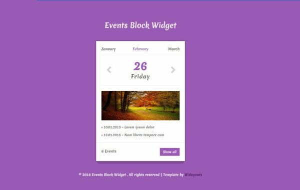 Events Block Responsive Widget Template