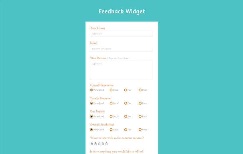 Feedback Form Flat Responsive Widget Template