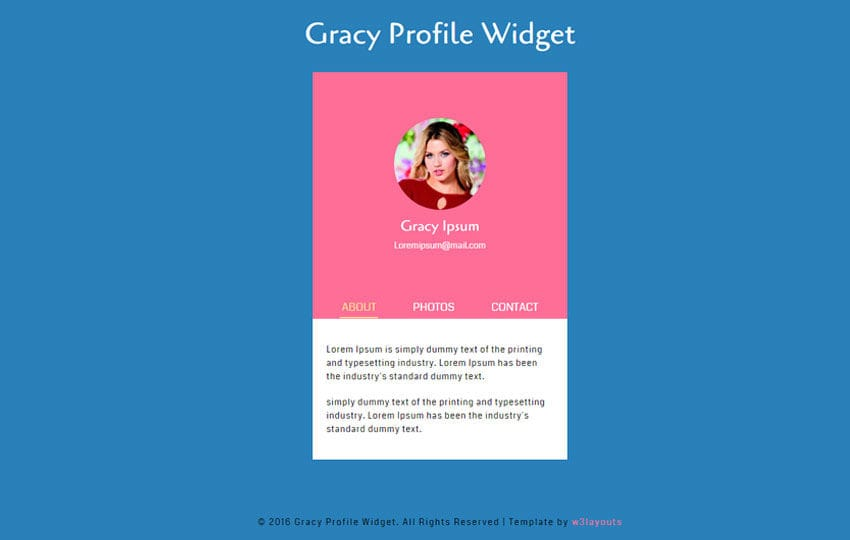 Gracy Profile Responsive Widget Template