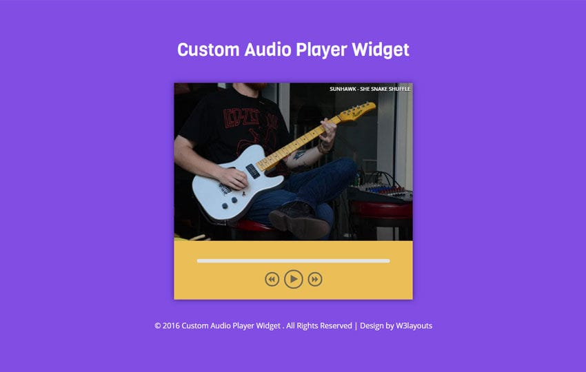 Custom Audio Player Widget Flat Responsive Widget Template