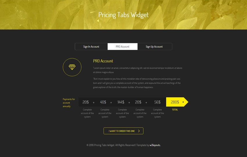 Pricing Tabs Widget Flat Responsive Widget Template